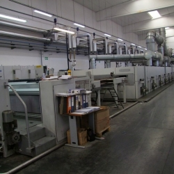 BRUECKNER stenter line, YEAR 2008, 8 chambers, oil heated, working width 3.600 mm