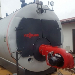 steam boiler Viessmann type: Vitomax 200 HS – M235 031,  Capacity of 4000 kg of steam per hour,  year of construction. 2007